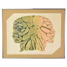 1970's Surrealist Color Lithograph African-American Caucasian Heads Chicago Artist