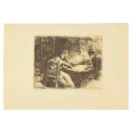 MAX LIEBERMANN – La soupe or Mid-Meal 1901 Etching Beaux Arts