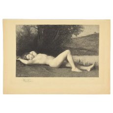 Mayeur after JEAN JACQUES HENNER – Naïade, Reclining Nude 1908 Etching