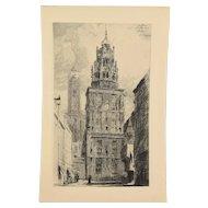 ARTHUR JULES MAYEUR  Le beffroi et le vieux phare à Calais 1907 Etching