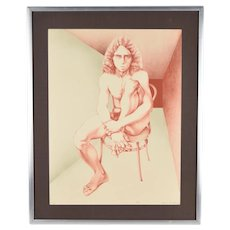 1970's Color Lithograph L/E Print of Nude Young Man Chicago Artist