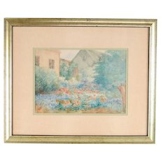 Depression Era Watercolor Painting Cottage w English Garden signed Hunt
