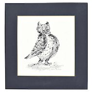 1960's Original Pen & Ink Illustration Cute Big-Eyed Owl signed Edith Suslick