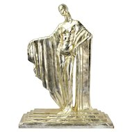 Large Vintage Art Deco Sculpture of  Elegant Woman in Flowing Kimono