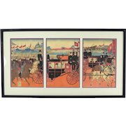 19th C. Meiji Japanese Woodblock Triptych Procession Imperial Carriages  Tankei