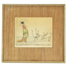 "1920's Hand Colored Etching ""The Enchantress"" Woman Communing with Cranes"