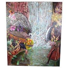 """Jim Waid """"Cascade"""" 1988 Heavy Impasto Painting Arizona Artist"""