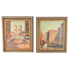 Pair Mid-Century Modern Cityscape Small Oil Paintings Venetian Scene