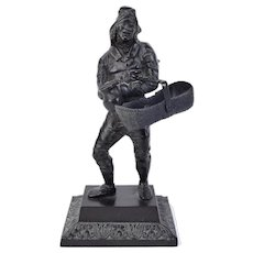 19th Century French Cast Iron Statue of Rag-Picker or Tinkerer with Baskets
