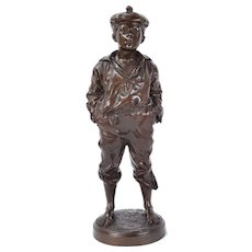 "19th Century Polish Bronze Sculpture ""Mousse Siffleur"" Whistling Boy Szczeblewski"
