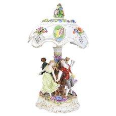 Figural Dresden Porcelain Maypole Dance Lamp w Lithophane Shade
