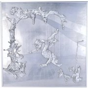 Vintage Abstract Geometric Metal Wall Sculpture Biomorphic Solder