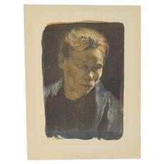 Kathe Kollwitz Working Woman Blue Shawl Lithograph Von Der Becke edition