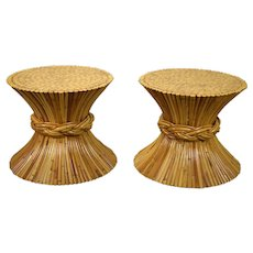 Pair Vintage McGuire Rattan Bamboo Wheat Sheaf Side or End Tables
