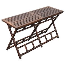 Vintage McGuire Rattan Oak Folding Bench Table Luggage Valet