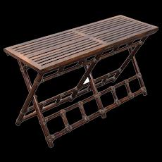 Vintage McGuire Rattan Oak Folding Bench Table Luggage Valet