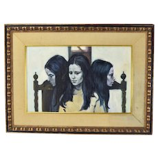 Vintage Mid-Century Modern Haunting Women Painting Adrian Rappin NYC