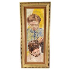 Vintage Mid-Century Modern Oil Painting Two Young Men Boys Haircut
