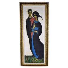 Vintage Mid-Century Modern Tall Robed Couple Oil Painting signed