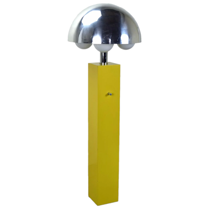 Vintage Mid Century Modern Yellow Floor Lamp With Chrome Shade