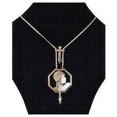 "Erte Art Deco ""Aventurine"" 14k Gold Diamond Onyx MOP Pendant Necklace"