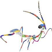 """Dorit Levinstein """"Praying Mantis"""" Painted Bronze Insect Sculpture Signed"""