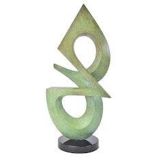 Charles Strain Modernist Abstract Bronze Sculpture Missouri Artist
