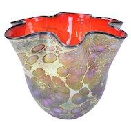 Jack Pine Studio 2013 Iridescent Hand Blown Art Glass Rainbow Floppy Bowl