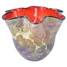 Jack Pine Studio 2013 Iridescent Hand Blown Art Glass Rainbow Floppy Bowl