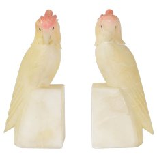 Vintage Mid Century Italian Carved Alabaster Cockatiel Bookends