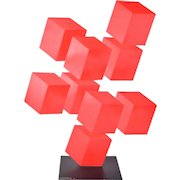 "Daniel Sanseviero ""9 Red Boxes"" Modernist Geometric Metal Illusion Sculpture"
