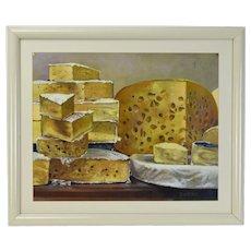 Vintage Jan Miller Still Life Painting Gourmet Cheese Wheels And Wedges
