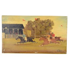 1900 Horse Racing Oil Painting Wood Plank Grandstand Jockeys & Horses W. Webb