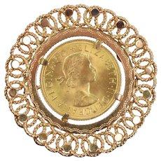 Vintage Estate 18k Brooch 1963 Elizabeth II English Gold Sovereign Coin