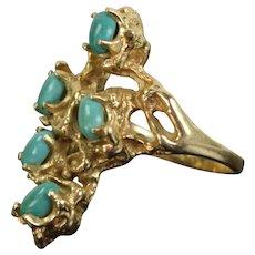 Vintage Estate 14k Solid Gold Brutalist Ring with Turquoise Cabochons