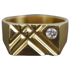 Vintage Estate Men's 14k Solid Gold Ring Cross Hatch Design w Diamond
