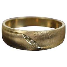 Mid-Century Modern 14k Solid Brushed Yellow Gold w Diamonds Men's Ring