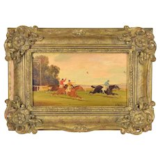 Circa 1900 Horse Racing Oil Painting on Wood Plank Jockeys & Horses by W. Webb