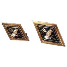 Pair of Antique PSI TAU 14k Solid Yellow Gold Enamel Fraternal Handshake Pins