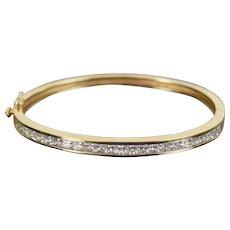 Estate Vintage 14k Solid Yellow Gold Bangle Bracelet Channel set Simulated Diamonds