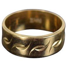 Vintage Mid-Century Modern 14k Solid Gold Wedding Band Ring Engraved Pattern Sz 7.5