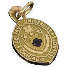 Vintage Depaul University 14k Solid Yellow Gold w Ruby Pendant Charm
