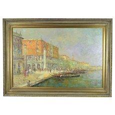 Large Impressionist Oil Painting Venetian Lagoon Campanile di San Marco by Morgan