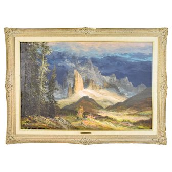 Vintage 1968 German Alps Mountain Oil Painting sgnd Heinz Ludwig Munnich