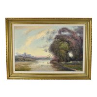 Impressionist Oil Painting Landscape w Castle Ruins signed Stephano