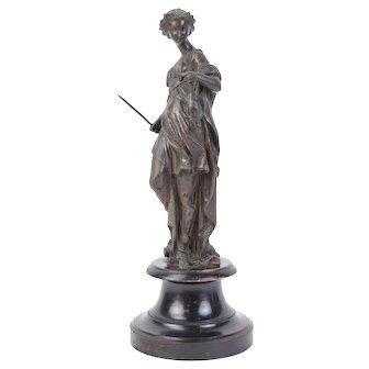 19th C Sculpture Artemis Diana Goddess of the Hunt w Spear & Pheasant