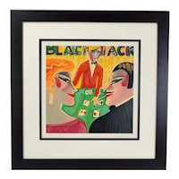 "Earl Linderman Limited Edition Black Jack Serigraph ""Hit Me Again"" Signed"