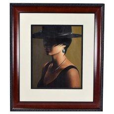 Alexander Sheversky Painting Woman w Eyes Shaded by Bolero Hat