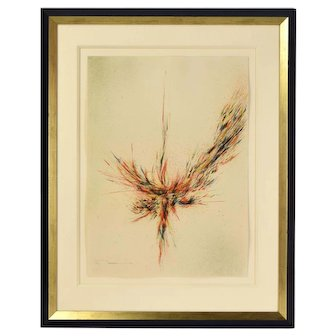 "Leonardo Nierman Signed Abstract Limited Edition Lithograph ""Firebird"""