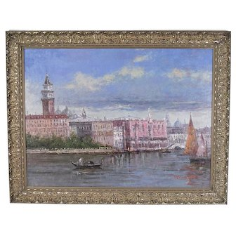 Large Impressionist Oil Painting Venetian Scene Doge's Palace by Morgan